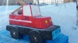 Конкурс снежных фигур прошел в Специализированной пожарно-спасательной части ФПС по Хабаровскому краю (фото)