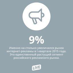 По итогам I квартала 2015 года российский рынок интернет-рекламы вырос на 9% —...