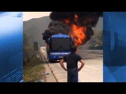 Китайский автобус, движущийся с российскими туристами из Суйфэньхэ в Россию, выгорел на границе с КНР