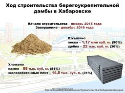 В Хабаровске сохраняются высокие темпы строительства дамбы
