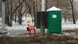 Хабаровчане обсуждают одинокий зелёный туалет