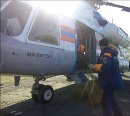 В район падения вертолета вылетел вертолет МИ-8 МЧС России