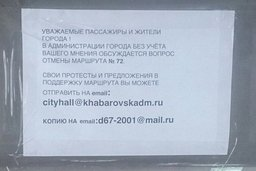 В маршрутках, перевозящих пассажиров по 72-му маршруту в Хабаровске, появились объявления, в которых граждан просят принять участие в его судьбе