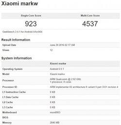 Таинственная новинка Xiaomi Markw на Snapdragon 625